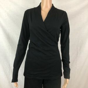 CAbi Shirt Sz Med Black Long Sleeve Faux Wrap #584